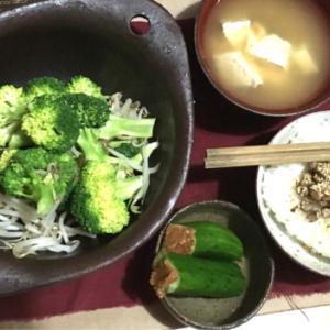 200905【今夜の晩御飯】ブロッコリもやし炒め・納豆ふりかけご飯・お豆腐味噌汁・もろきゅう