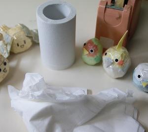 ティッシュ、トイレットペーパー、セロテープで作る♪