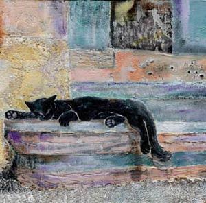 猫空間その9 アクリルとメディウムで猫を描く