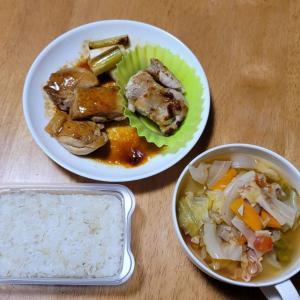 野菜スープと焼き鳥。