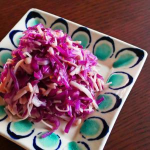 紫キャベツとえのき茸のつぶマスタード和え。
