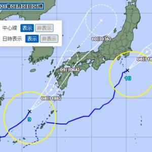 続:令和3年8月の台風10号と台風9号