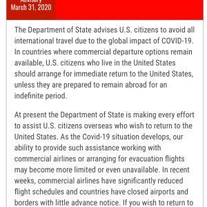 アメリカ在住者は渡航禁止。