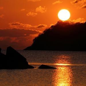 津田の松原の日の出風景