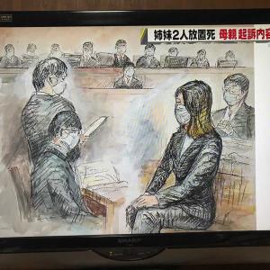 法廷イラスト(姉妹車内置き去り死事件公判3:西日本放送)