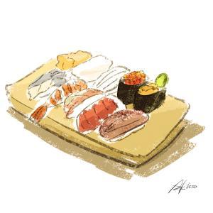 お寿司のイラスト/2分イラストレーションNO.008 #2406
