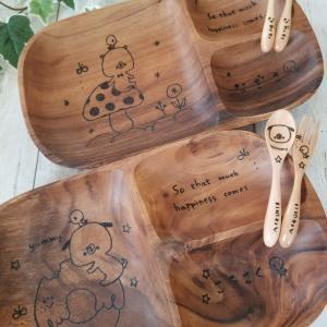 ウッドバーニングの木製食器