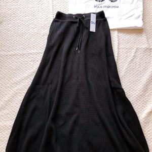 【GU】大人気のワッフルフレアロングスカート