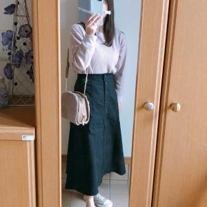 【UNIQLO】デザインが可愛いいチノフロントボタンロングスカートでコーデ