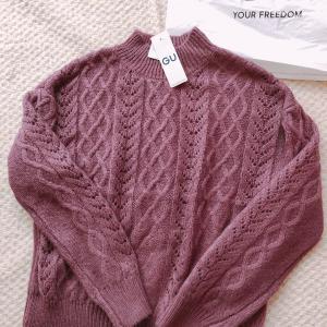 【GU】大型店で購入‼︎透かし編みケーブルセーター