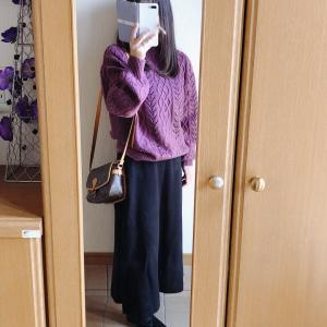 【GU】高見え透かし編みケーブルセーターで上下GUコーデ