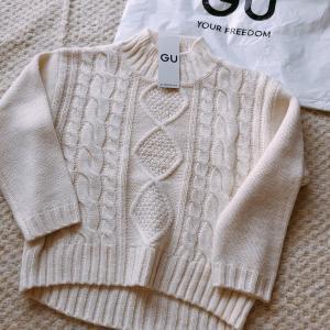 【GUキッズ】ケーブルクルーネックセーター