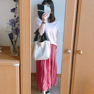 【しまむら】MUMUさんコラボのロープベルト付きロングスカートでピンク系コーデ