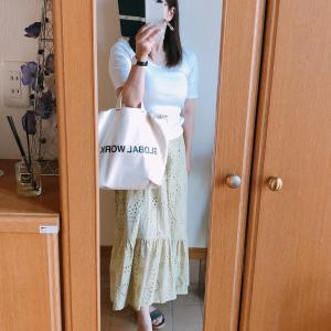 【GU】コットンレースティアードロングスカートでコーデ/cafeでランチ