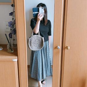 【しまむら】ギンガムチェック柄のフレアスカートでモノトーンコーデ/昨日の晩ごはん