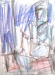 絵画<アトランダム>【ホモ・サピエンス】 <絵を描く女>(色鉛筆) 油絵屋大哲‐公式ホームページ