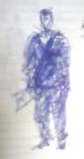 絵画<アトランダム> 「作務衣の男」(デッサン) 油絵屋大哲‐公式ホームページ