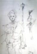 絵画<アトランダム> 「出合い」(デッサン) 油絵屋大哲‐公式ホームページ