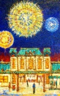 「関門・門司港風景」 『花火(門司港駅)』(油絵)M10号 油絵屋大哲‐公式ホームページ