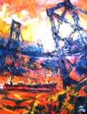 「関門大橋」(夕景) 油絵(F3号) 油絵屋大哲‐公式ホームページ
