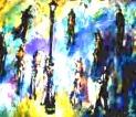 「ガス灯と人々」 油絵(F10号) 油絵屋大哲‐公式ホームページ