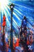 「出合い」(ガス灯の下で・・・) 油絵(SM号) 油絵屋大哲‐公式ホームページ