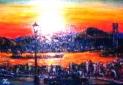 「関門海峡」(夕景) 油絵(M6号) 油絵屋大哲‐公式ホームページ