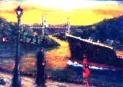 「出合い」(関門夕景) 油絵(F4号) 油絵屋大哲‐公式ホームページ