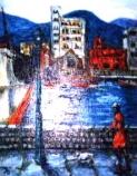 「門司港船溜り」 油絵(F8号) 油絵屋大哲‐公式ホームページ