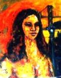 「裸婦と関門海峡」 油絵(F3号) 油絵屋大哲‐公式HP