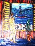 「裸婦と関門海峡」 油絵(F8号) 油絵屋大哲‐公式ホームページ