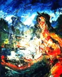 「裸婦と関門海峡」 油絵(F3号) 油絵屋大哲‐公式ホームページ