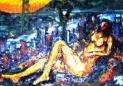 「横たわる裸婦」(関門海峡) 油絵(F4号)¥80,000 油絵屋大哲‐公式ホームページ