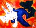 「人と鳥と木」(半抽象) 油絵(F0号)¥30,000 油絵屋大哲‐公式ホームページ #油絵屋 #大哲 #画家 #公式HP #門司港レトロ #大正時代 #鬼滅の刃 門司港レトロ<大正浪漫>鬼滅の刃 門司港レトロ<大正時代>鬼滅の刃