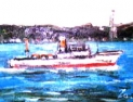 「関門海峡を走る船」  油絵(F0号)¥30,000 油絵屋大哲‐公式ホームページ