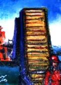 「ブルーウイングもじ」(門司港レトロ) 油絵(F0号)¥30,000 油絵屋大哲‐公式ホームページ #油絵屋大哲 #関門海峡