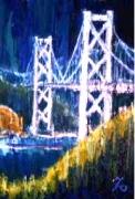 「関門大橋」(夜景) 油絵(SM号)¥40,000 油絵屋大哲‐公式ホームページ #油絵 #門司港 #関門海峡