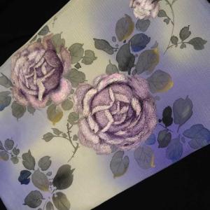 薔薇柄のアンティーク名古屋帯夏の名古屋帯