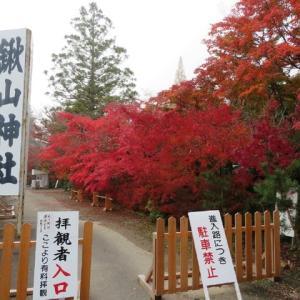 燃えるような赤に包まれた鍬山神社