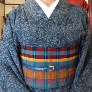 おばあちゃん的着物を可愛い六寸帯で