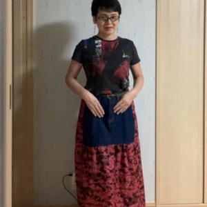 解き布+デニムスカートでリメイクスカート
