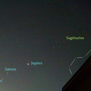 夜明け前、東の空の惑星たちと春の夏の大三角