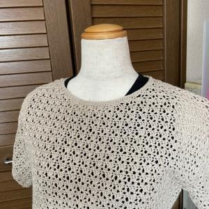 かぎ針編みのハマナカのフラックスシリーズ⭐︎半袖のセーター!