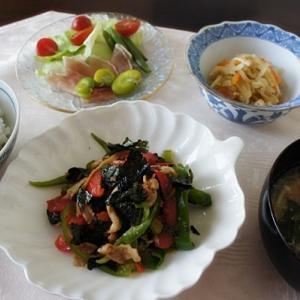 豚肉&ピーマン&赤パプリカの醤油海苔炒め