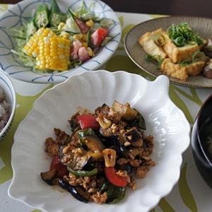 茄子と豚挽肉の甘味噌炒め