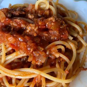 今日のランチは、手作りミートソーススパゲティ♪