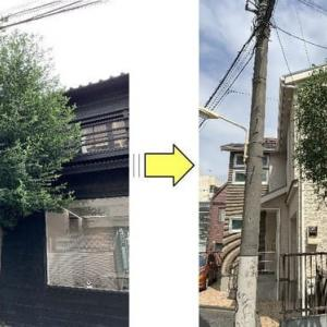 敷地内植木が大きくなり電線に絡み始め建物にもあたりお隣の敷地にも枝が伸びてしまいバッサリと枝おろし作業