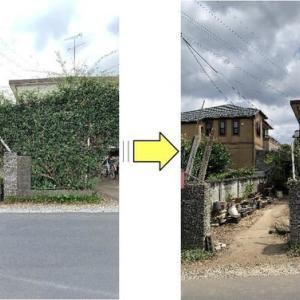 台風対策で土台がもろくなったモッコウバラのアーチ解体