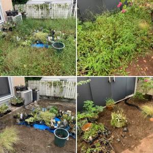 草に覆われてしまったお庭の草むしり作業