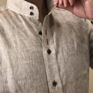 リネン(麻)シャツのドゥエボットーニスタンドカラーで快適夏シャツにしました